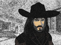 Portait of a cowboy. A drawing of a cowboy's portrait   in the foreground of a wetern town Royalty Free Stock Images