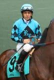 Portait de jockey Victor Espinoza de vétéran Image stock