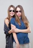 Portait de studio du jeune embrassement jumel de soeurs Images stock