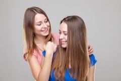 Portait de studio du jeune embrassement jumel de soeurs Photographie stock libre de droits
