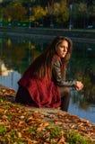 Portait do outono, menina bonita Fotos de Stock