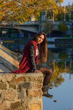 Portait do outono, menina bonita Imagem de Stock