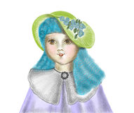 Portait eines kleinen Mädchens mit Blumen auf ihrem Hut und blauen Haar Stockbilder