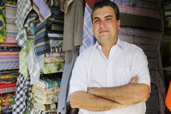 Portait of a fabric store owner Stock Photos
