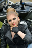 Stunning,serious,sexual,seductivefashionable,dangerous,angry,serious biker girl with smokey makeup royalty free stock photos