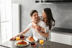 Portait of gorgeous couple smiling, and enjoying time together w royalty free stock photo