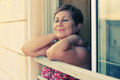 Portait of happy senior woman. At home Royalty Free Stock Photo