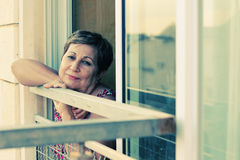 Portait of happy senior woman. At home Royalty Free Stock Images