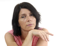 Portait of a middle aged woman on white. Background Stock Images