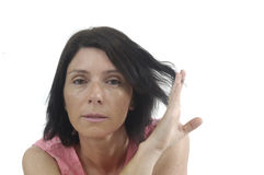 Portait of a middle aged woman on white. Background Stock Photography