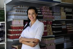 Portait of a retail store owner. Small business: portait of a proud and confident retail store owner stock photos
