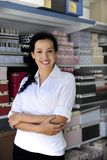 Portait of a retail store owner. Small business: portait of a proud and confident retail store owner royalty free stock image