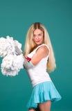 Portait girls blonde fan Royalty Free Stock Image