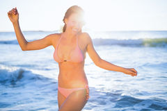 Portait of smiling woman in pink bikini posing Royalty Free Stock Images