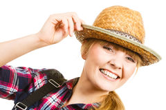 Portait smiling woman wearing sun hat and shirt Stock Images