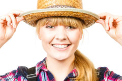 Portait smiling woman wearing sun hat and shirt Stock Photography