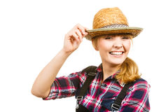 Portait smiling woman wearing sun hat and shirt Stock Photos