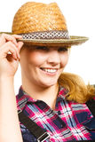 Portait smiling woman wearing sun hat and shirt Stock Image