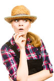 Portait surprised woman wearing hat and dungarees Royalty Free Stock Image