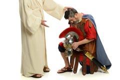 Portait von Jesus betend für römischen Soldaten stockbilder