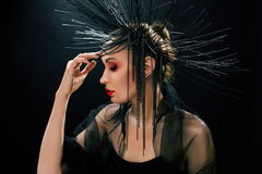 Portait of young beautiful woman like witch Royalty Free Stock Images