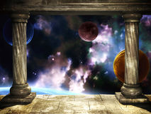 Portal. Frame with two medieval columns and space scene Royalty Free Stock Images