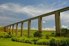 The portal. A railway bridge in the field royalty free stock image