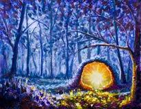 Portal amarillo brillante hecho a mano de la pintura A a otro mundo en un arte hermoso del bosque de la noche del bosque azul mís ilustración del vector