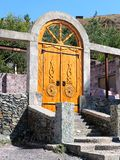 Portal with arched door stock photo