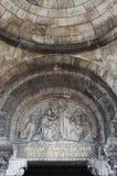Portal av basilikan av Sacren Coeur i Paris Arkivfoton