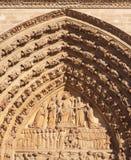 Portal av domkyrkan av Paris i Frankrike Royaltyfri Foto