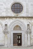 Portal of the cathedral in Koper stock photography