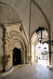Portal of Cathedral of St. Lawrence in Trogir, Croatia, view from inside Stock Photos