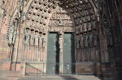 Portal of the Cathedral of Strasbourg in France stock photo