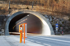 Portal  of a conrete tunnel with fading lights Stock Photos