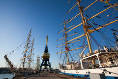 Portal cranes amon tall ships. Portal cranes among talls hips in port early morning clear sky Royalty Free Stock Images