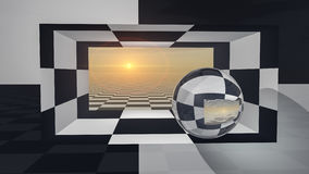 Portal a cuadros de la ventana Foto de archivo libre de regalías