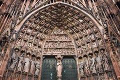 Portal da central da catedral de Strasbourg Fotografia de Stock Royalty Free