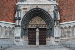 Portal der Uppsala-Kathedrale Stockfoto