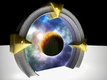 Portal dimensional sobre o céu estrangeiro ilustração do vetor