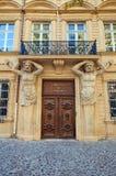 Portal of Hotel de Maurel de Ponteves (1650). Aix-en-Provence. Decorated portal with atlantes figures of Hotel Maurel de Ponteves (circa 1650, nowadays serves as Stock Image