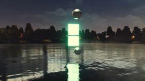 Portal inny wymiar nad jezioro przy nocą ilustracji