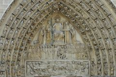 Portal with Judgment-Day, Notre-Dame, Paris Royalty Free Stock Photography