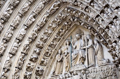 Portal of the last judgment of Notre Dame de Paris Royalty Free Stock Image