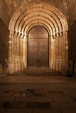 Portal of the Lisbon Cathedral at Night in Portugal Royalty Free Stock Images