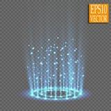 Portal mágico da fantasia Futurista teleport Efeito da luz Velas azuis dos raios de uma cena da noite com faíscas em um transpare imagens de stock