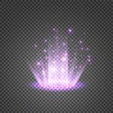 Portal mágico da fantasia Futurista teleport Efeito da luz Velas azuis dos raios de uma cena da noite com faíscas em um transpare ilustração royalty free