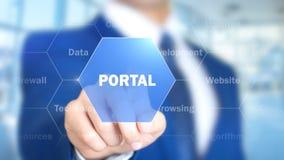 Portal man som arbetar på den holographic manöverenheten, visuell skärm Royaltyfri Fotografi