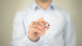 Portal , Man writing on transparent screen Royalty Free Stock Image