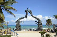 Portal Maya Sculpture Playa del Carmen Stock Photos